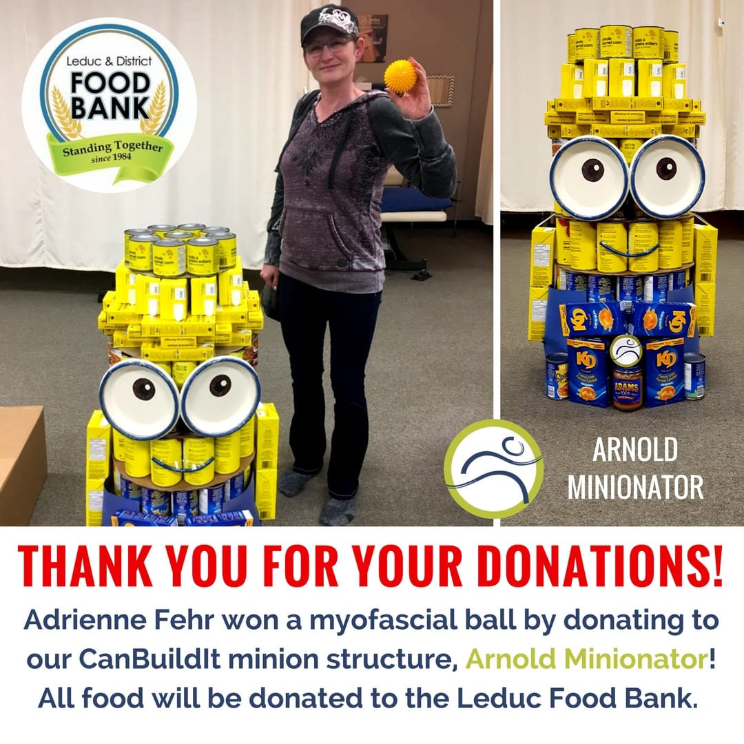 Contest-Winners Thank you for your donations! business contest donate food Leduc Leduc County Leduc District Food Bank leduc physio minion myofascial ball physiotherapy support winner