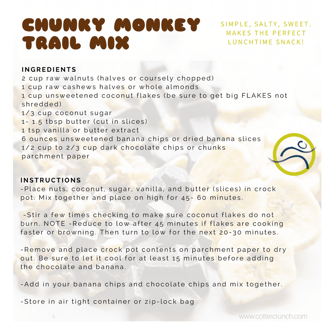 Chunky-Monkey-Trail-Mix-Recipe Chunky Monkey Trail Mix banana chocolate cook food healthy healthy options lunch meal nuts prep recipe snack trail mix