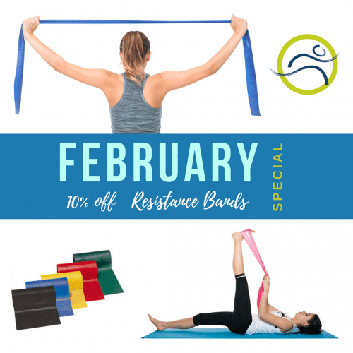 Monthly-Special-e1516724109300 February Special; Theraband band elastic exercise fitness health low impact physiotherapy post natal post-surgery pregnancy product recovery rehabilitation resistance special strength stretch strong sundry theraband training