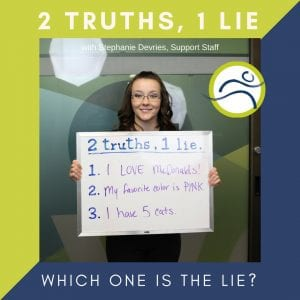 Pam-2 Pam Lied! 2 truths 1 lie fun leduc physio pam fouillard staff